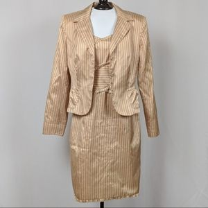 Kay Unger Fitted Suit Jacket and Dress Silk sz 10